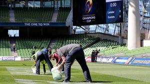 The Aviva Stadium pitch is manicured ahead of kick-off