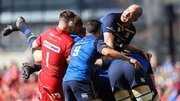 Leinster's Devin Toner at the top of a maul in the early stages of the semi-final