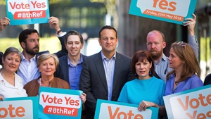 Fine Gael members launching the party's Vote Yes campaign earlier today