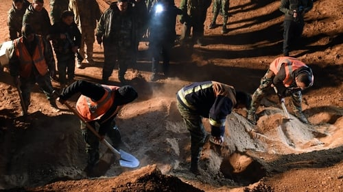 There have been previous finds of mass graves in Raqa, such as this one discovered by Syrian troops in December 2017