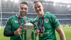 Conor Murray (L) with Jonathan Sexton