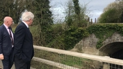 Britain's Brexit Secretary David Davis on his visit to the border