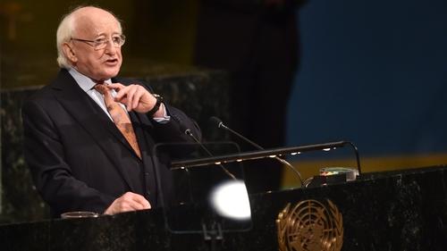 Michael D Higgins addressed a UN meeting on peace-building