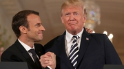 French President Emmanuel Macron and US President Donald Trump at a joint press conference in the White House