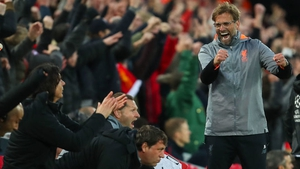 Jurgen Klopp celebrates Liverpool's first goal