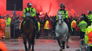 There was a large police presence outside Anfield but not at the area where the attack took place