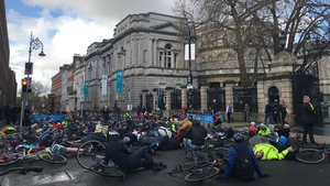 Cyclists protest in memory of those who have been killed on the roads this year