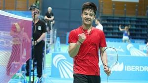Nhat Nguyen celebrates victory at the European Championships (Photo courtesy of Badminton Europe/Mark Phelan)