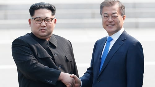 """Mr Kim and Mr Moon had pledged to work for """"complete denuclearisation"""" of the Korean peninsula and agreed on a common goal of a """"nuclear-free"""" peninsula"""