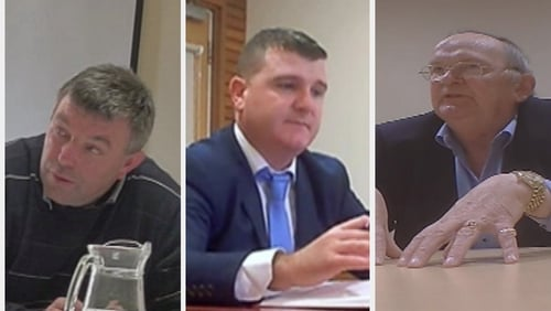 Joe Queenan (L), John O'Donnell (C) and Hugh McElvaney (R) were secretly filmed by RTÉ Investigates