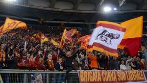 Roma fans on the Stadio Olimpico's Curva Sud