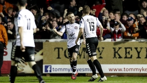 Keith Ward celebrates scoring his goal