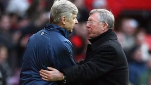 Arsene Wenger and Alex Ferguson after a 2008 Premier League clash