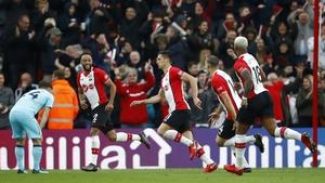 Dusan Tadic (c) turns away after scoring Southampton's second