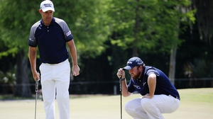 Padraig Harrington and Shane Lowry during the third round of the Zurich Classic