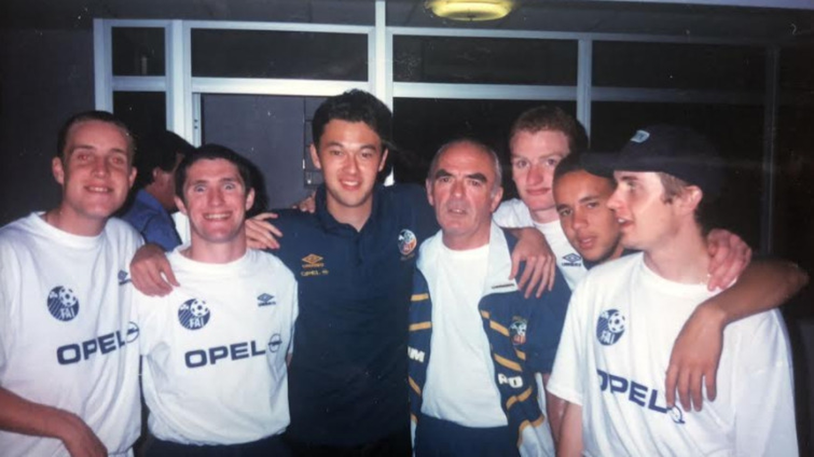 Image - Left to right: Barry Quinn, Robbie Keane, Alex O'Reilly, Dr O'Callaghan, Gary Doherty, Liam George,