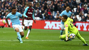Gabriel Jesus shoots past West Ham goalkeeper Adrian during Man City's 4-1 victory over West Ham United