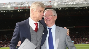 Arsene Wenger pictured on his retirement from Arsenal management in 2018, with Alec Ferguson