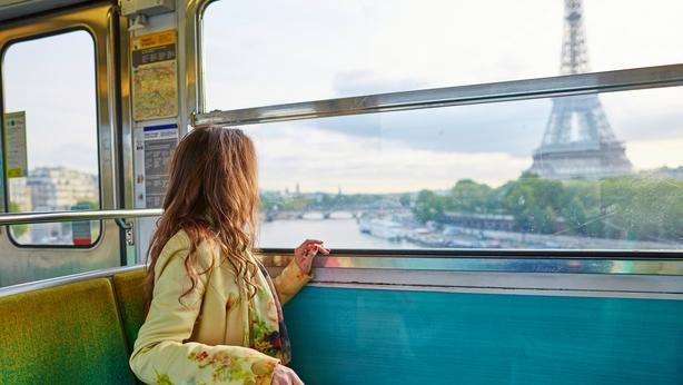 Woman in a train of Parisian underground
