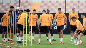 Roma players training before the second leg of their Champions League semi-final