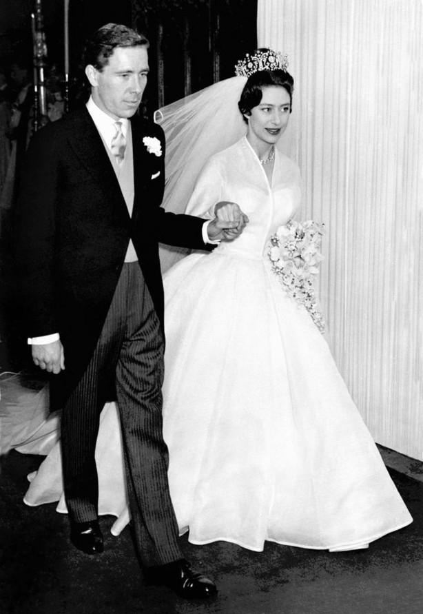 Princess Margaret and Antony Armstrong-Jones emerge from Westminster Abbey (PA)