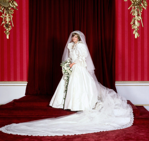 The Princess of Wales in her bridal gown at Buckingham Palace (PA)