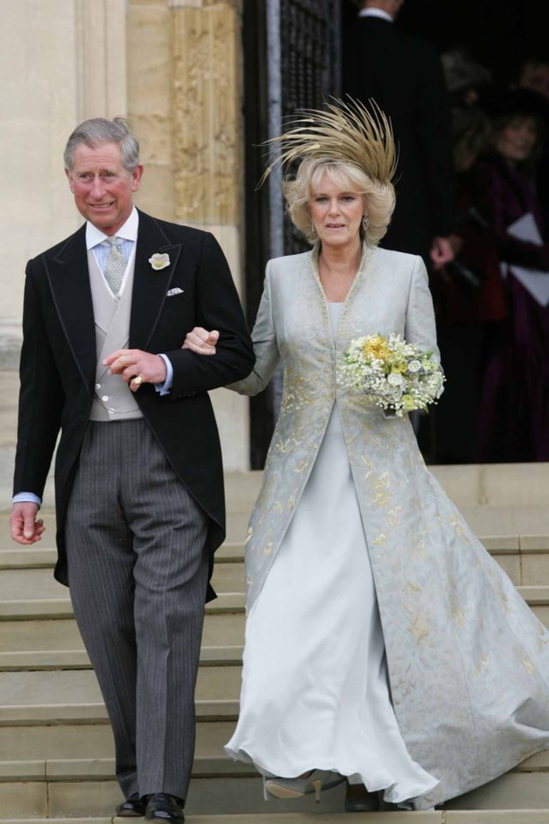 The Prince of Wales and the Duchess of Cornwall leave their wedding ceremony