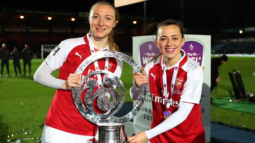 Louise Quinn (L) and Katie McCabe will hope to deliver the FA Cup for Arsenal this Saturday