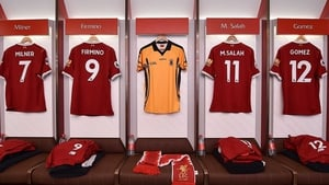 A St Peter's shirt hangs in the dressing room at Anfield