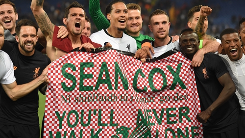 Liverpool players showed their support for Sean Cox after the win in Rome back in 2018