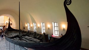 The Oseberg Ship, the archtypal Viking sea craft. The ship was buried in Vestfold, Norway in 834. Two skeletons found in it were female, one of high social status.