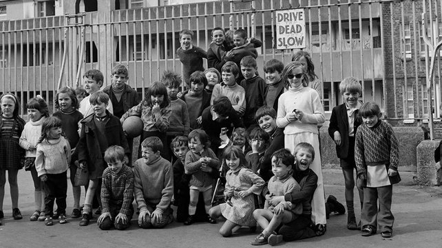 Children in the Oliver Bond flat complex, Dublin (1975)