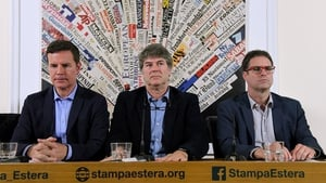 Jose Andres Murillo (R), James Hamilton (C) and Juan Carlos Cruz (L), at a news conference  in Rome yesterday