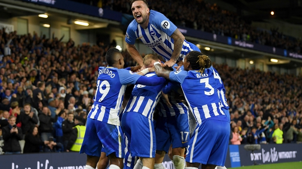 Shane Duffy celebrates Gross' goal