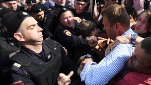 Russian riot police detained Alexei Navalny at today's protests