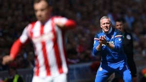 Paul Lambert urging his side on in their quest to remain in the Premier League