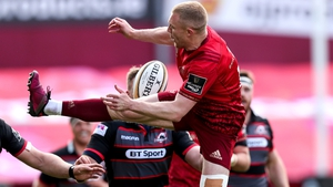 Keith Earls takes an aerial ball at Thomond Park
