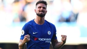 Olivier Giroud celebrates at the final whistle