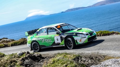 Manus Kelly and Donall Barrett took the lead three stages from the finish.