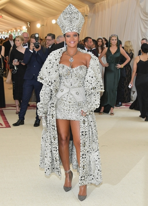 Rihanna wore a custom Maison Margiela by John Galliano to the 2018 event. Theme: Heavenly Bodies: Fashion and the Catholic Imagination.