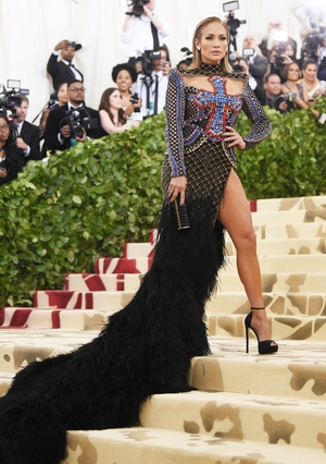 Jennifer Lopez rocked a Balmain dress for the 2018 event. Theme: Heavenly Bodies: Fashion and the Catholic Imagination.