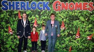 Eton and David (pictured with their two boys) hosted the Sherlock Gnomes London Family Gala in 2018