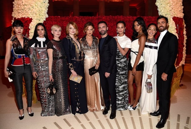 Doona Bae, Jennifer Connelly, Michelle Williams, Emma Stone, Riley Keough, Nicolas Ghesquiere, Alicia Vikander, Laura Harrier, Ruth Negga and Justin Theroux attend the Heavenly Bodies