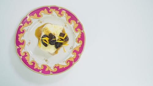 Jasmine Tea and Lemon Parfait with Tea-Soaked Prunes and Marigold