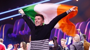 Ryan O'Shaughnessy celebrates getting through to the Eurovision Final