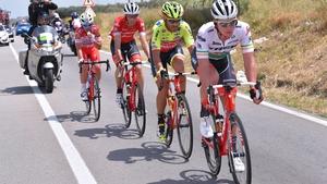 Ryan Mullen leads a breakaway group