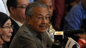 Former Malaysian prime minister and winning opposition candidate Mahathir Mohamad during press conference in Kuala Lumpur