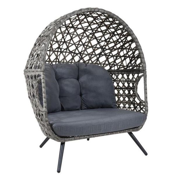 Heatons loveseat rattan chair grey