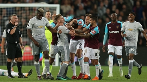 Tempers flare between West Ham United's Mark Noble and Manchester United's Paul Pogba