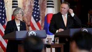 Mike Pompeo met South Korean Foreign Minister Kang Kyung-wha at the US State Department